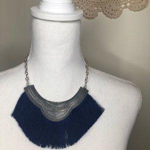 Navy Fringe Necklace
